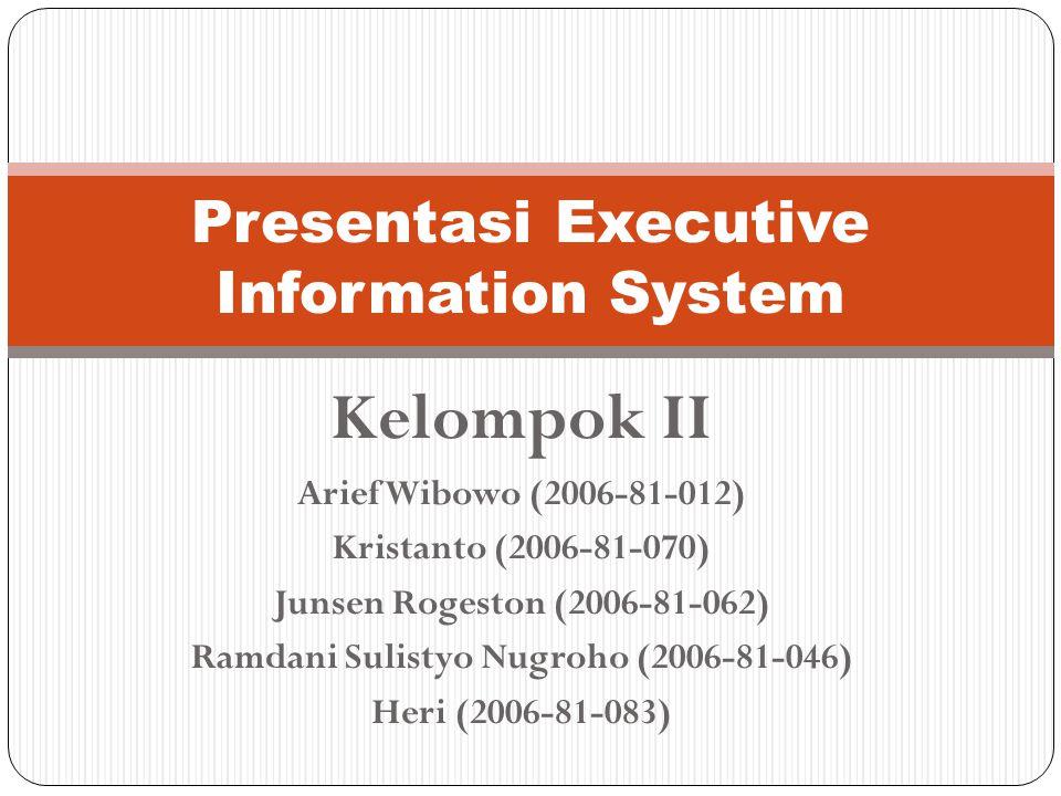Kelompok II Arief Wibowo (2006-81-012) Kristanto (2006-81-070) Junsen Rogeston (2006-81-062) Ramdani Sulistyo Nugroho (2006-81-046) Heri (2006-81-083) Presentasi Executive Information System