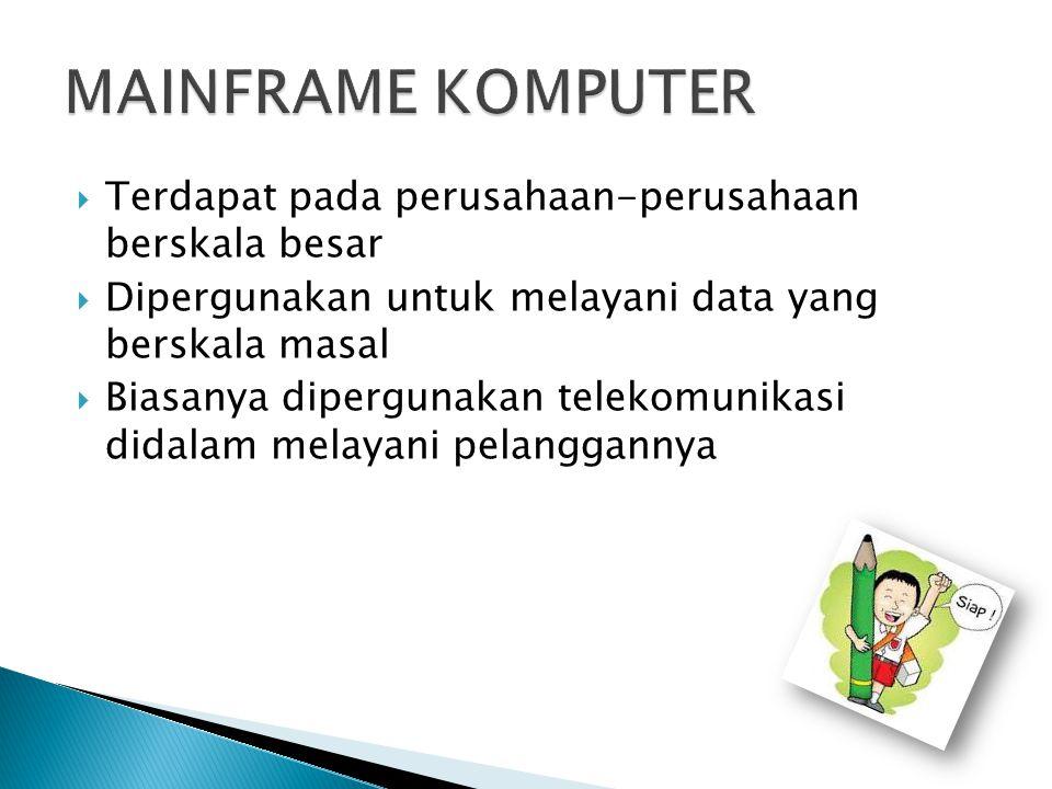  Terdapat pada perusahaan-perusahaan berskala besar  Dipergunakan untuk melayani data yang berskala masal  Biasanya dipergunakan telekomunikasi didalam melayani pelanggannya