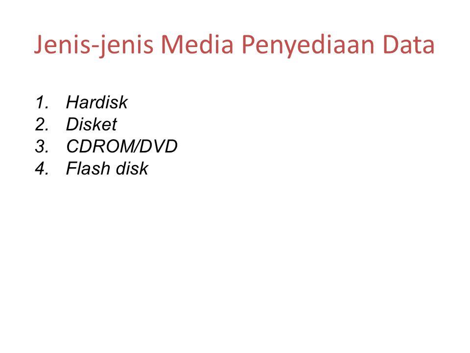 Jenis-jenis Media Penyediaan Data 1.Hardisk 2.Disket 3.CDROM/DVD 4.Flash disk