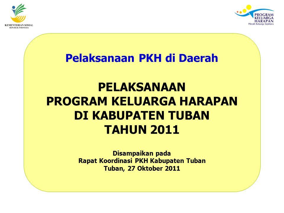 Pelaksanaan PKH di Daerah PELAKSANAAN PROGRAM KELUARGA HARAPAN DI KABUPATEN TUBAN TAHUN 2011 Disampaikan pada Rapat Koordinasi PKH Kabupaten Tuban Tuban, 27 Oktober 2011