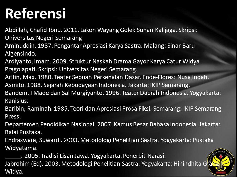 Referensi Abdillah, Chafid Ibnu. 2011. Lakon Wayang Golek Sunan Kalijaga.