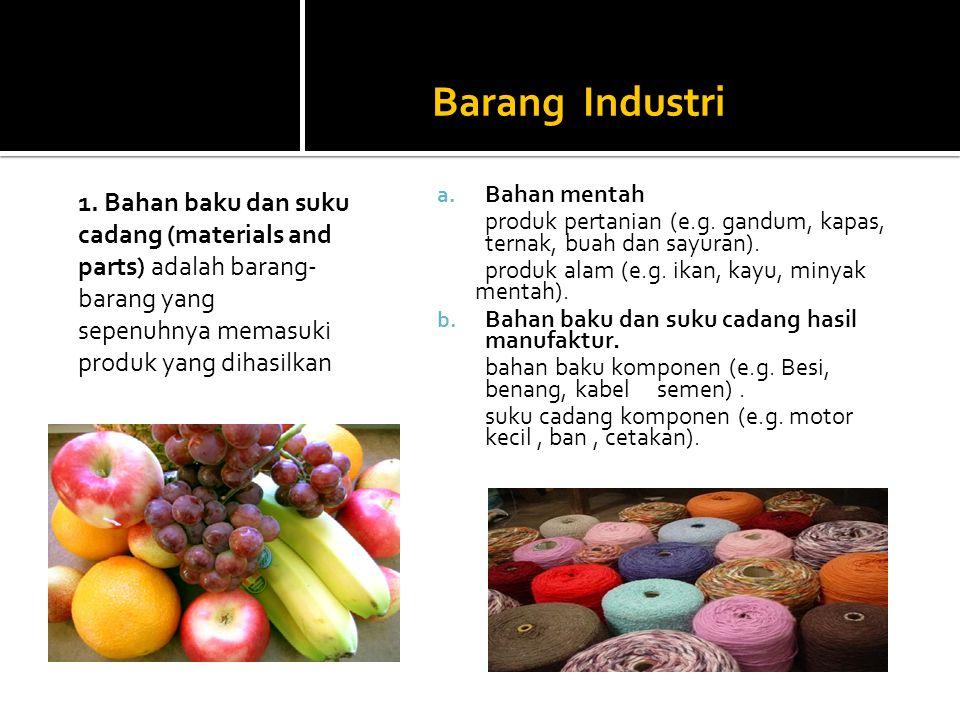 Barang Industri a. Bahan mentah produk pertanian (e.g. gandum, kapas, ternak, buah dan sayuran). produk alam (e.g. ikan, kayu, minyak mentah). b. Baha