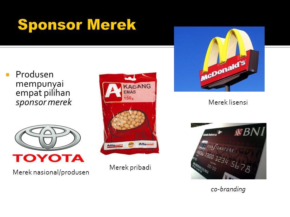  Produsen mempunyai empat pilihan sponsor merek co-branding Merek nasional/produsen Merek pribadi Merek lisensi