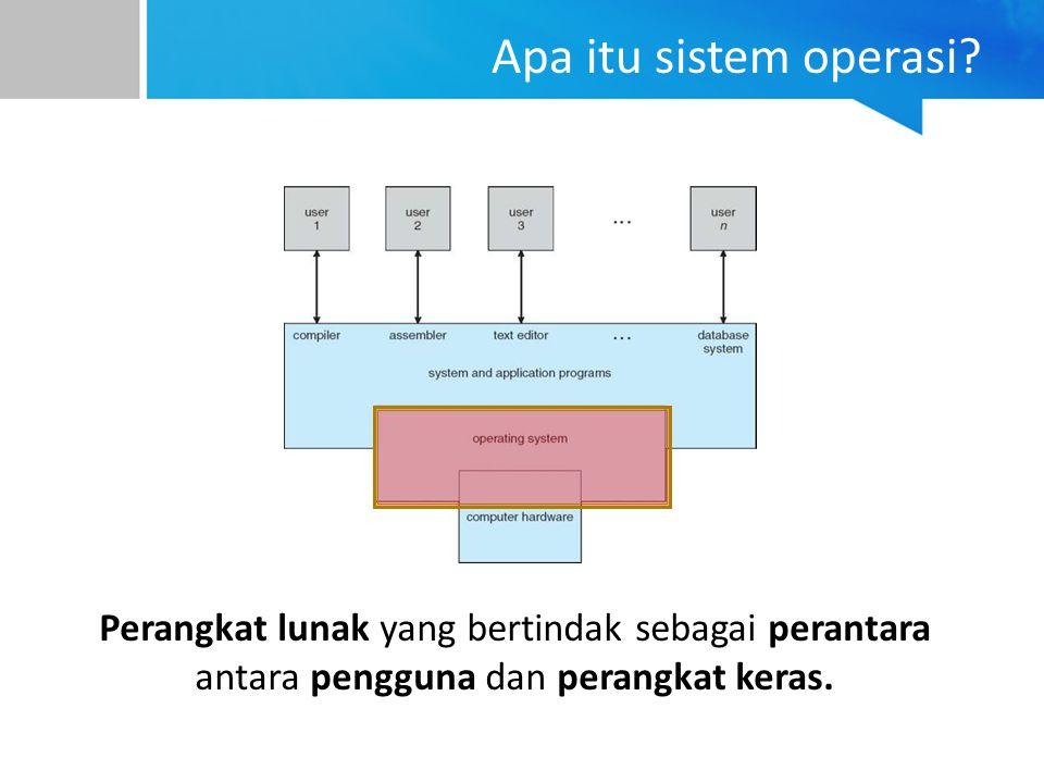 Apa itu sistem operasi? Perangkat lunak yang bertindak sebagai perantara antara pengguna dan perangkat keras.