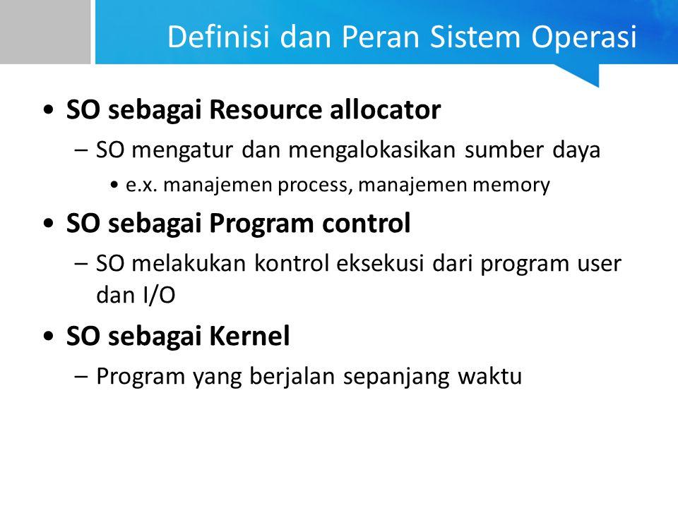 Definisi dan Peran Sistem Operasi SO sebagai Resource allocator –SO mengatur dan mengalokasikan sumber daya e.x. manajemen process, manajemen memory S