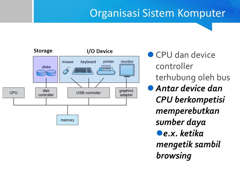 CPU dan device controller terhubung oleh bus Antar device dan CPU berkompetisi memperebutkan sumber daya e.x. ketika mengetik sambil browsing I/O Devi