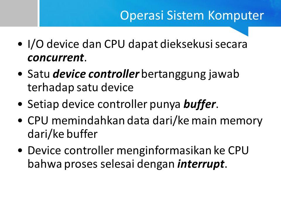 Operasi Sistem Komputer I/O device dan CPU dapat dieksekusi secara concurrent. Satu device controller bertanggung jawab terhadap satu device Setiap de