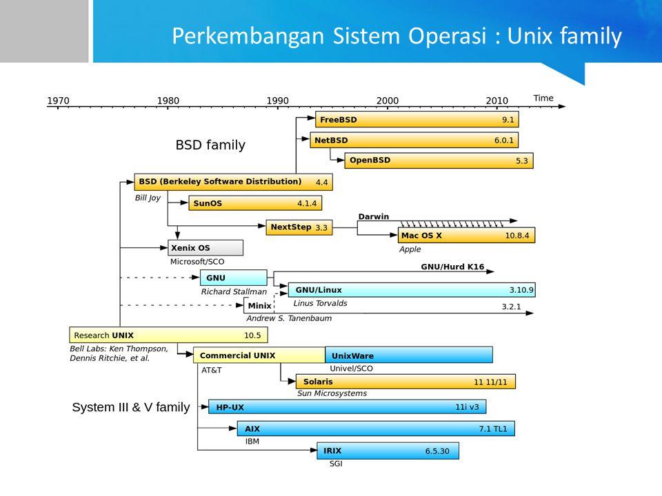 Perkembangan Sistem Operasi : Unix family