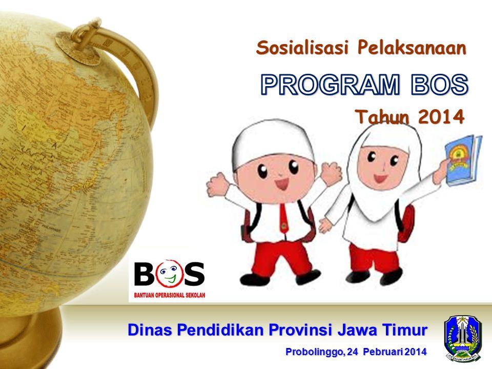 Sosialisasi Pelaksanaan Tahun 2014 Dinas Pendidikan Provinsi Jawa Timur Probolinggo, 24 Pebruari 2014