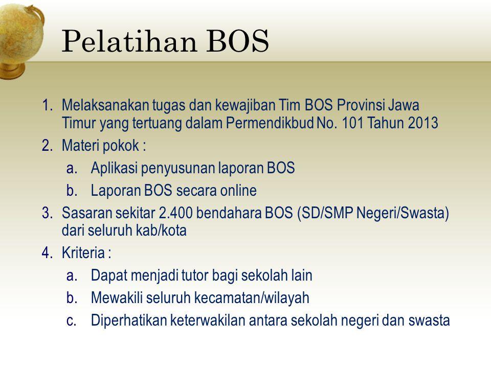 Pelatihan BOS 1.Melaksanakan tugas dan kewajiban Tim BOS Provinsi Jawa Timur yang tertuang dalam Permendikbud No. 101 Tahun 2013 2.Materi pokok : a.Ap