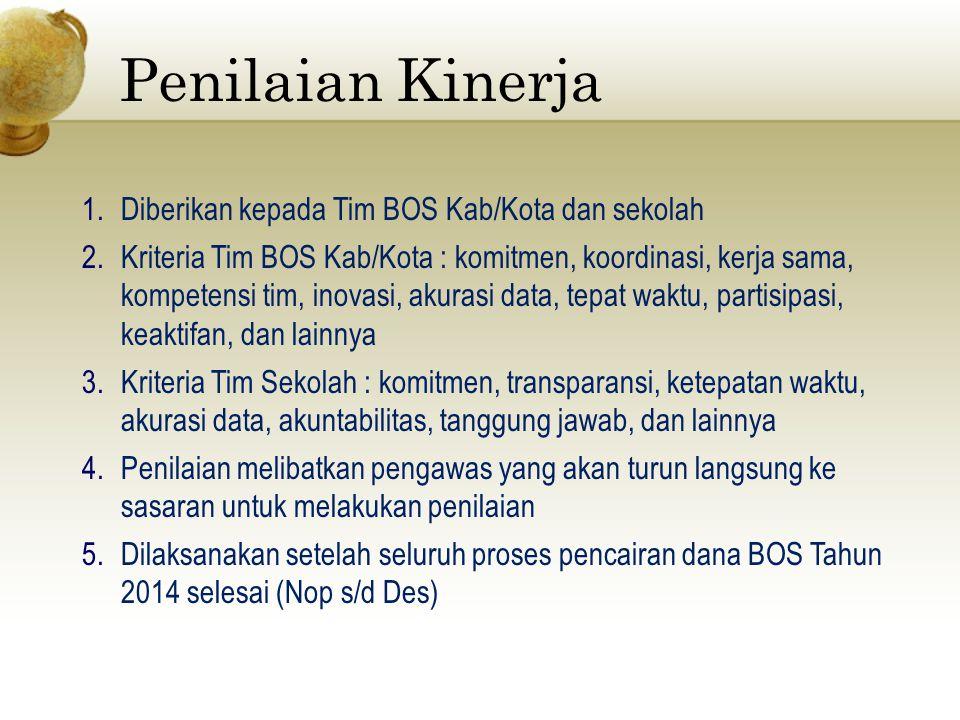 Penilaian Kinerja 1.Diberikan kepada Tim BOS Kab/Kota dan sekolah 2.Kriteria Tim BOS Kab/Kota : komitmen, koordinasi, kerja sama, kompetensi tim, inov