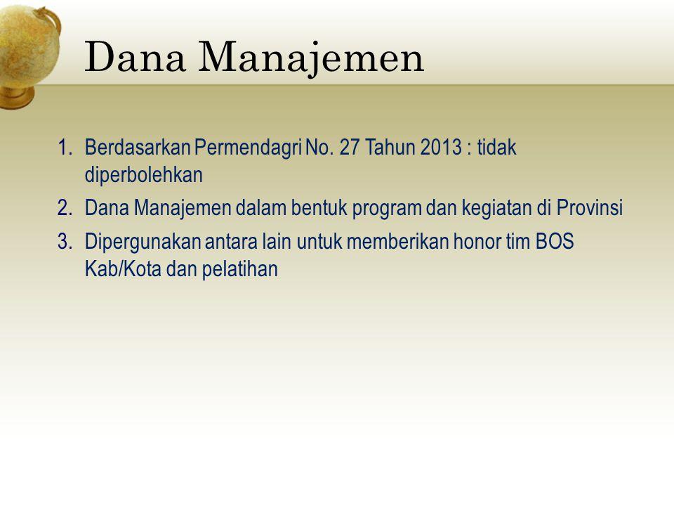 Dana Manajemen 1.Berdasarkan Permendagri No. 27 Tahun 2013 : tidak diperbolehkan 2.Dana Manajemen dalam bentuk program dan kegiatan di Provinsi 3.Dipe