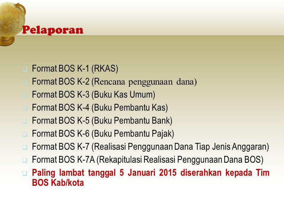 Pelaporan  Format BOS K-1 (RKAS)  Format BOS K-2 (R encana penggunaan dana)  Format BOS K-3 (Buku Kas Umum)  Format BOS K-4 (Buku Pembantu Kas) 