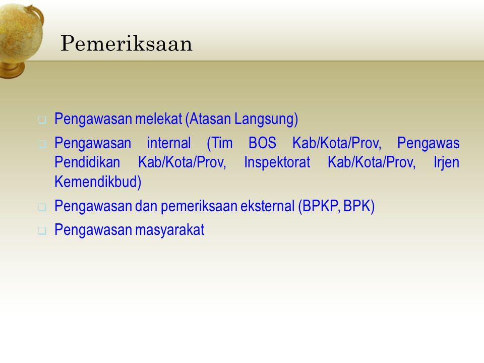  Pengawasan melekat (Atasan Langsung)  Pengawasan internal (Tim BOS Kab/Kota/Prov, Pengawas Pendidikan Kab/Kota/Prov, Inspektorat Kab/Kota/Prov, Irj