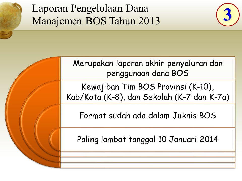 3 Laporan Pengelolaan Dana Manajemen BOS Tahun 2013 Merupakan laporan akhir penyaluran dan penggunaan dana BOS Kewajiban Tim BOS Provinsi (K-10), Kab/