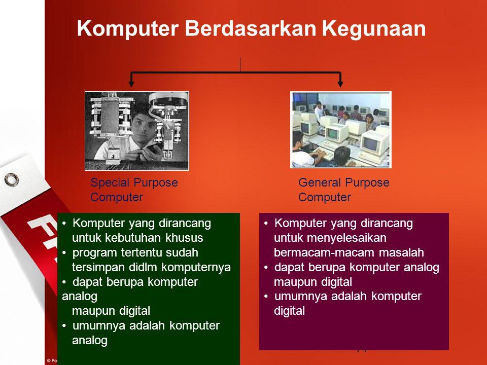 14 Komputer Berdasarkan Kegunaan Special Purpose Computer General Purpose Computer Komputer yang dirancang untuk kebutuhan khusus program tertentu sud