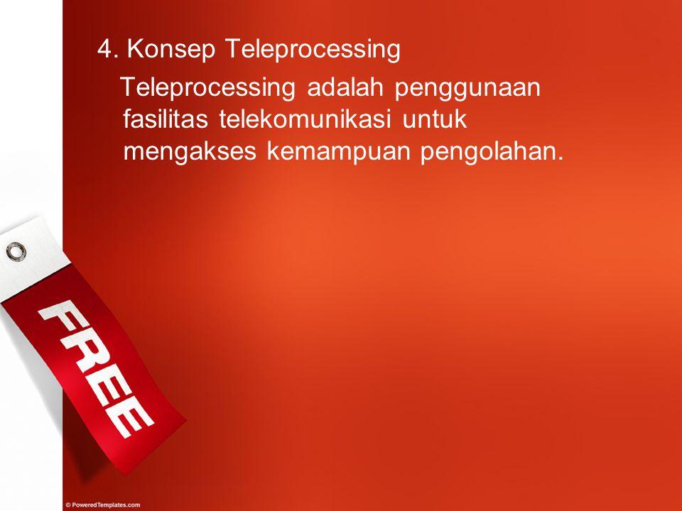 4. Konsep Teleprocessing Teleprocessing adalah penggunaan fasilitas telekomunikasi untuk mengakses kemampuan pengolahan.