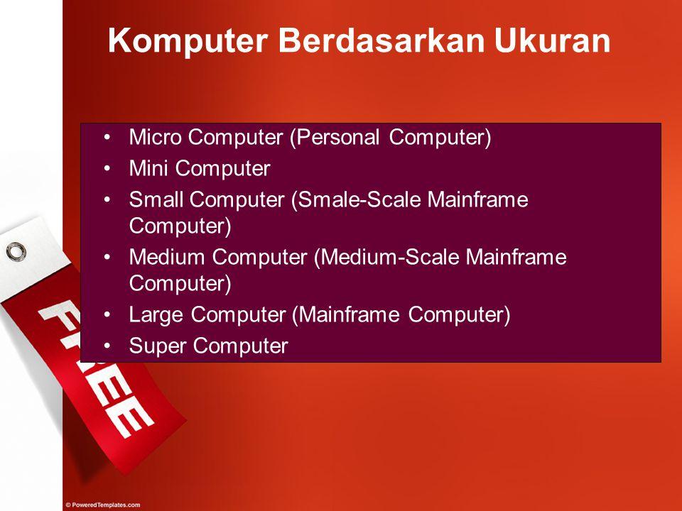 Komputer Berdasarkan Ukuran Micro Computer (Personal Computer) Mini Computer Small Computer (Smale-Scale Mainframe Computer) Medium Computer (Medium-S