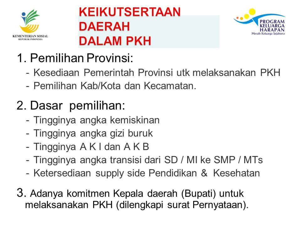 1. Pemilihan Provinsi: -Kesediaan Pemerintah Provinsi utk melaksanakan PKH -Pemilihan Kab/Kota dan Kecamatan. 2. Dasar pemilihan: -Tingginya angka kem