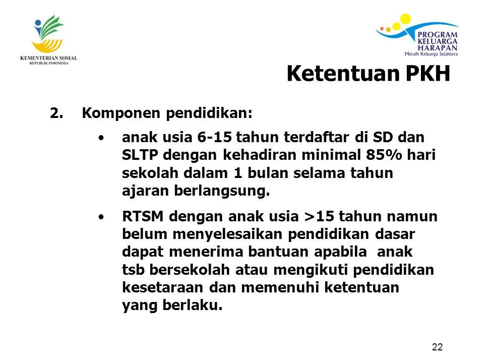 22 2.Komponen pendidikan: anak usia 6-15 tahun terdaftar di SD dan SLTP dengan kehadiran minimal 85% hari sekolah dalam 1 bulan selama tahun ajaran berlangsung.