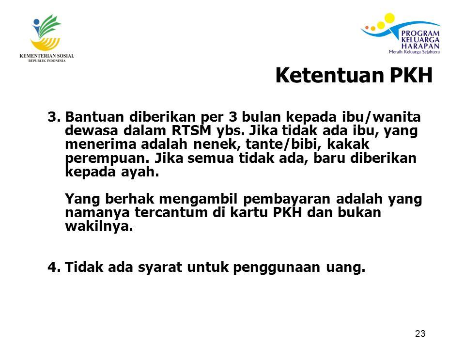 23 3.Bantuan diberikan per 3 bulan kepada ibu/wanita dewasa dalam RTSM ybs.