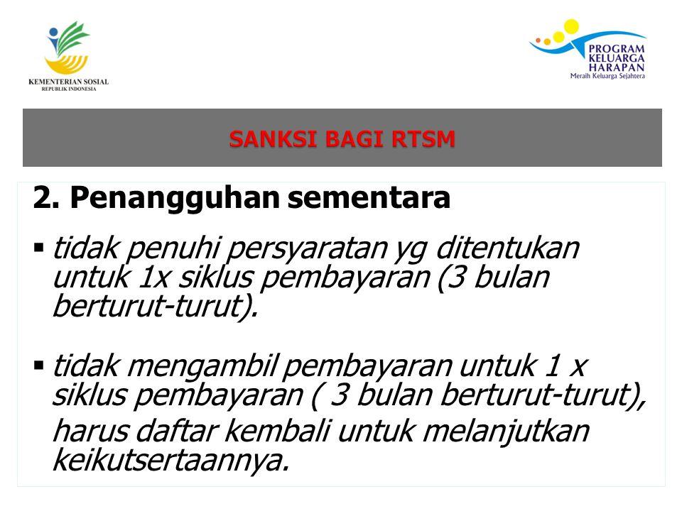 2. Penangguhan sementara  tidak penuhi persyaratan yg ditentukan untuk 1x siklus pembayaran (3 bulan berturut-turut).  tidak mengambil pembayaran un