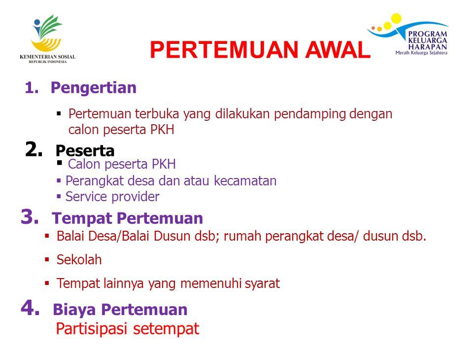 1. Pengertian  Pertemuan terbuka yang dilakukan pendamping dengan calon peserta PKH  Calon peserta PKH  Perangkat desa dan atau kecamatan  Service