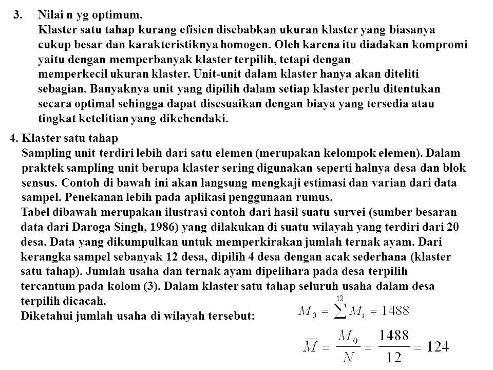 3.Nilai n yg optimum. Klaster satu tahap kurang efisien disebabkan ukuran klaster yang biasanya cukup besar dan karakteristiknya homogen. Oleh karena