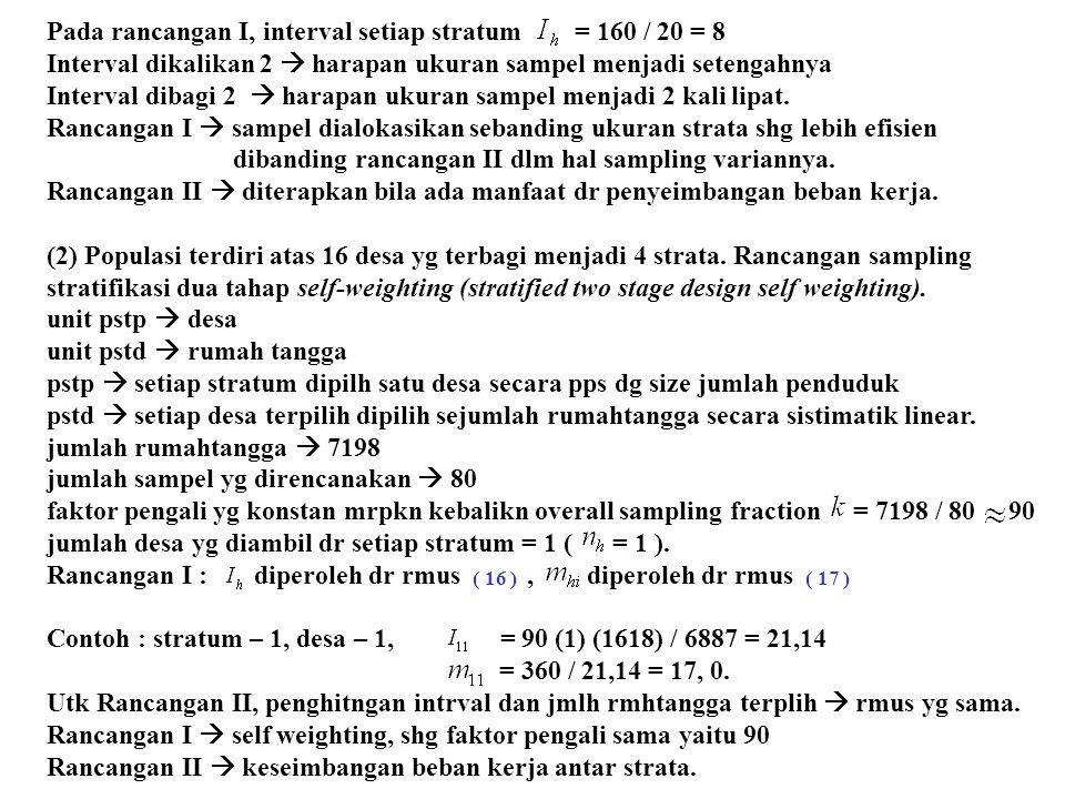 Tabel 4.2.: Self Weighting Two Stage Stratified Design Strata No Desa Jumlah Penduduk Jumlah Rumah tangga Rancangan I Rancangan II (2)(1)(3)(4)(5)(6)(7)(8)(9)(10) 12341234 12341234 12341234 12341234 1 2 3 4 1618 1402 699 3168 360 255 140 704 21,14 18,31 9,14 41,47 17,0 13,9 15,3 17,0 90 21,14 18,31 9,14 41,47 17,0 13,9 15,3 17,0 90 4006 7917 2122 2355 728 1588 472 428 21,99 43,44 11,65 12,02 33,1 36,6 40,5 33,1 43,98 86,88 23,30 25,84 16,6 18,3 20,2 16,6 180 45 90 490 533 284 2172 684 2656 2726 2872 98 118 52 434 155 493 545 638 12,67 13,79 7,34 56,20 6,88 26,75 27,45 28,92 7,7 8,6 7,1 7,7 22,5 18,1 19,9 22,1 6,34 6,90 3,67 28,10 6,88 26,75 27,45 28,92 15,4 15,2 14,2 15,4 22,5 18,1 19,9 22,1 Sub Jumlah 1 6887 1459 Sub Jumlah 2 16400 3216 Sub Jumlah 3 3479 702 Sub Jumlah 4 8938 1821 Jumlah 1 – 4 35704 7198