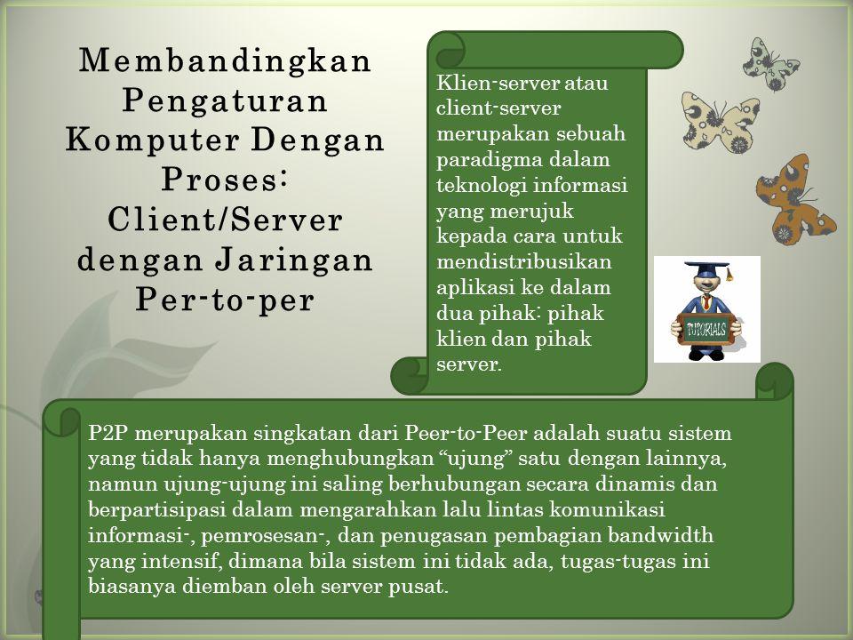 Membandingkan Pengaturan Komputer Dengan Proses: Client/Server dengan Jaringan Per-to-per Klien-server atau client-server merupakan sebuah paradigma dalam teknologi informasi yang merujuk kepada cara untuk mendistribusikan aplikasi ke dalam dua pihak: pihak klien dan pihak server.