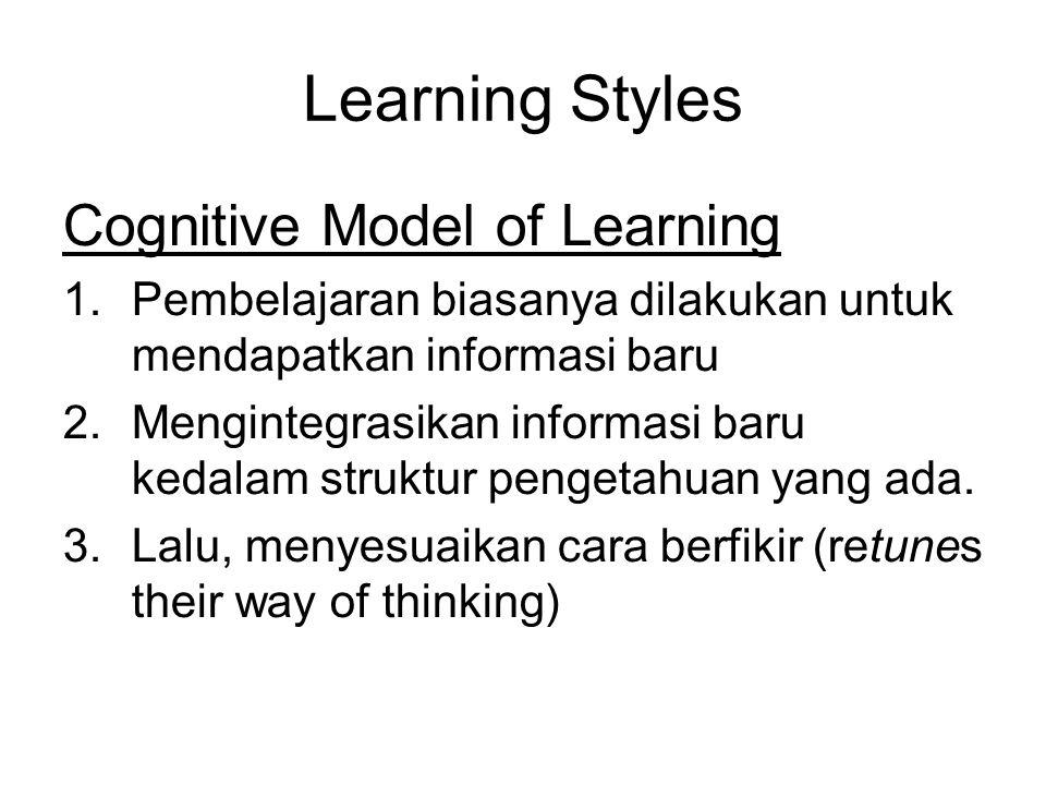 Learning Styles Cognitive Model of Learning 1.Pembelajaran biasanya dilakukan untuk mendapatkan informasi baru 2.Mengintegrasikan informasi baru kedalam struktur pengetahuan yang ada.