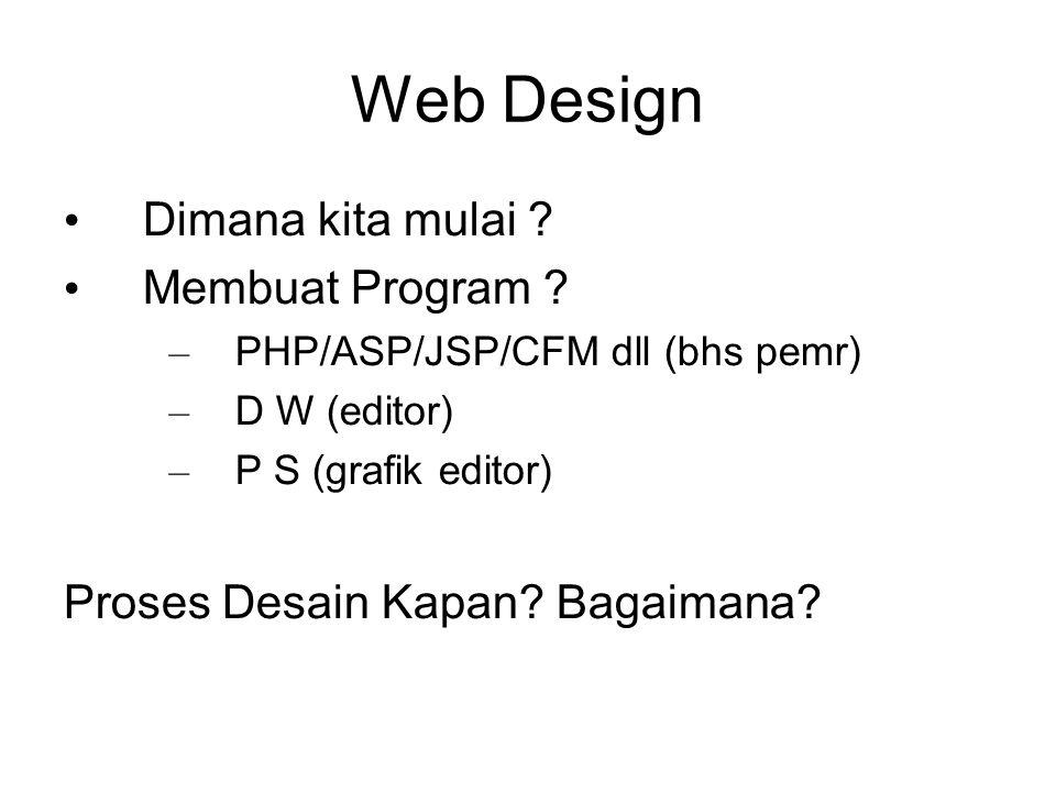 Web Design Dimana kita mulai ? Membuat Program ? – PHP/ASP/JSP/CFM dll (bhs pemr) – D W (editor) – P S (grafik editor) Proses Desain Kapan? Bagaimana?