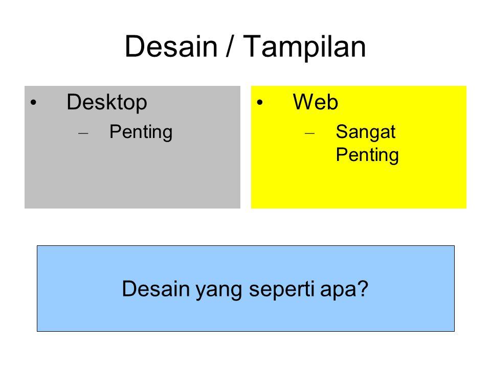 Desain / Tampilan Desktop – Penting Web – Sangat Penting Desain yang seperti apa
