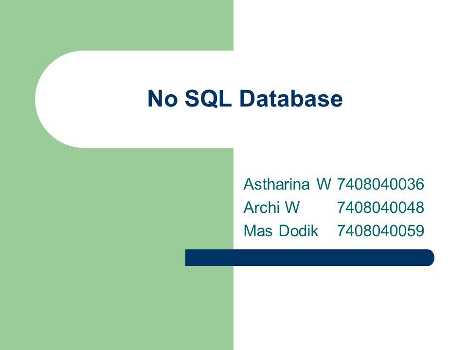 No SQL Database Astharina W7408040036 Archi W 7408040048 Mas Dodik7408040059