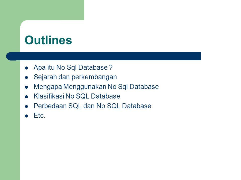 Outlines Apa itu No Sql Database ? Sejarah dan perkembangan Mengapa Menggunakan No Sql Database Klasifikasi No SQL Database Perbedaan SQL dan No SQL D