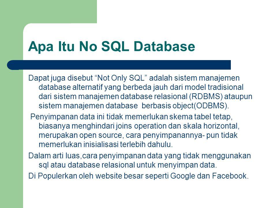 """Apa Itu No SQL Database Dapat juga disebut """"Not Only SQL"""" adalah sistem manajemen database alternatif yang berbeda jauh dari model tradisional dari si"""