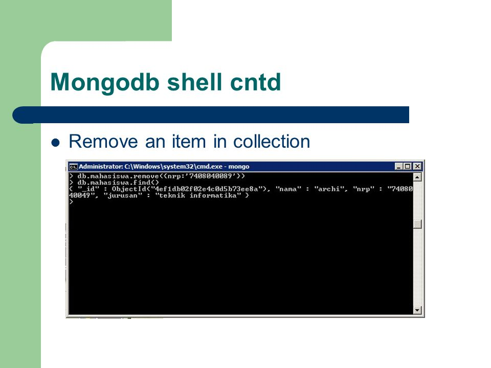 Mongodb shell cntd Remove an item in collection