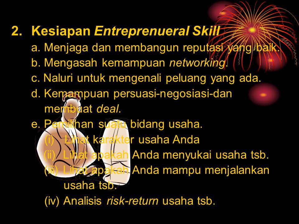 Persiapan Menjadi Young Entreprenuer 1. Kesiapan Pribadi : a.