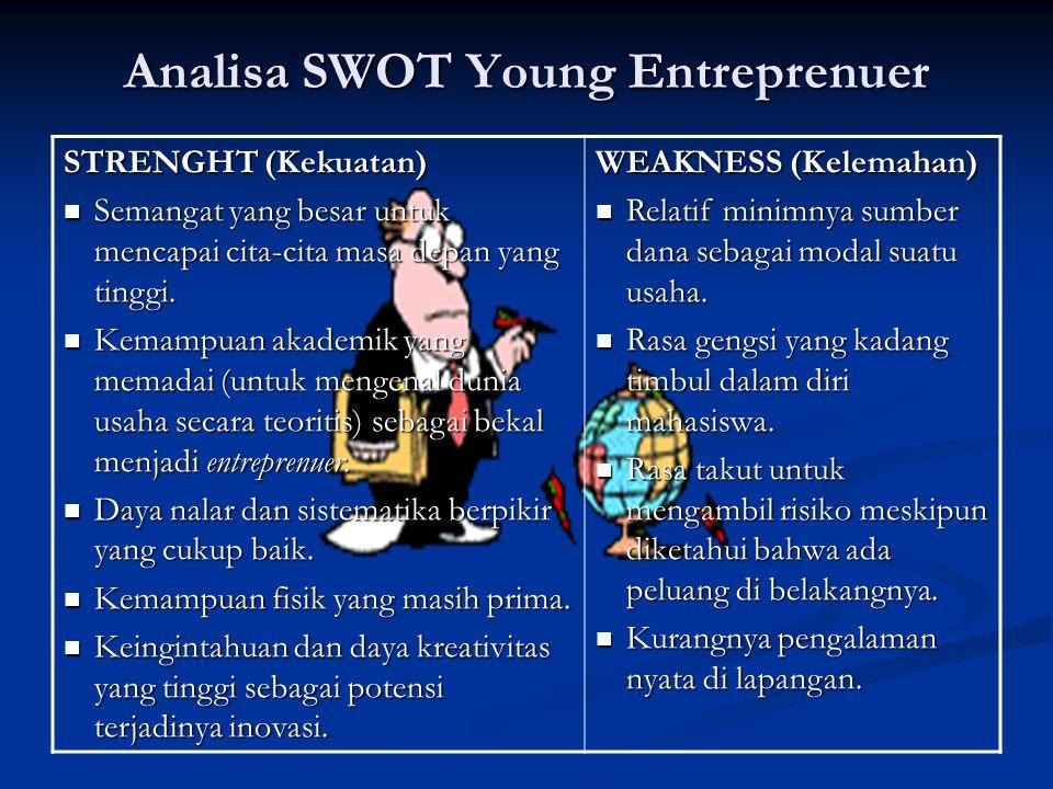 Analisa SWOT Young Entreprenuer STRENGHT (Kekuatan) Semangat yang besar untuk mencapai cita-cita masa depan yang tinggi.