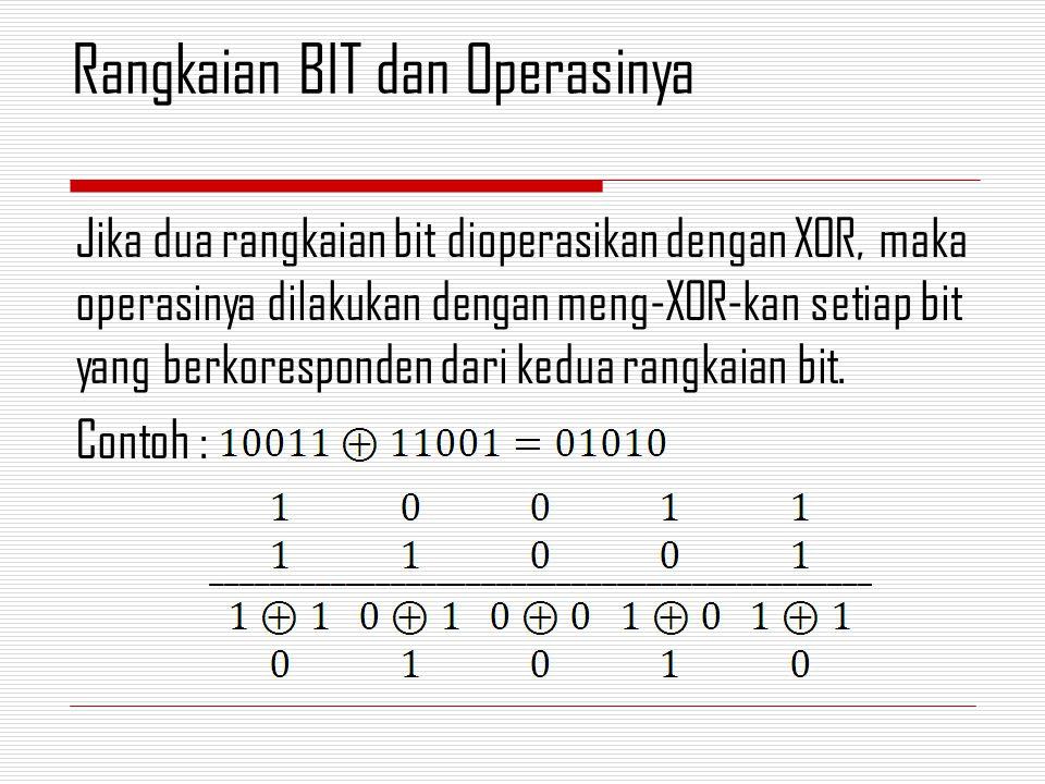 Jika dua rangkaian bit dioperasikan dengan XOR, maka operasinya dilakukan dengan meng-XOR-kan setiap bit yang berkoresponden dari kedua rangkaian bit.