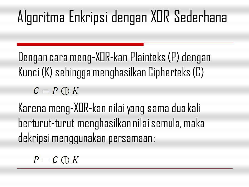 Dengan cara meng-XOR-kan Plainteks (P) dengan Kunci (K) sehingga menghasilkan Cipherteks (C) Karena meng-XOR-kan nilai yang sama dua kali berturut-tur