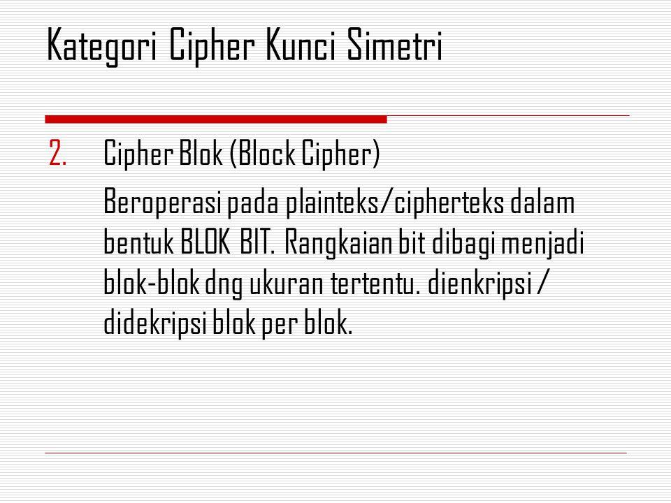 2.Cipher Blok (Block Cipher) Beroperasi pada plainteks/cipherteks dalam bentuk BLOK BIT. Rangkaian bit dibagi menjadi blok-blok dng ukuran tertentu. d