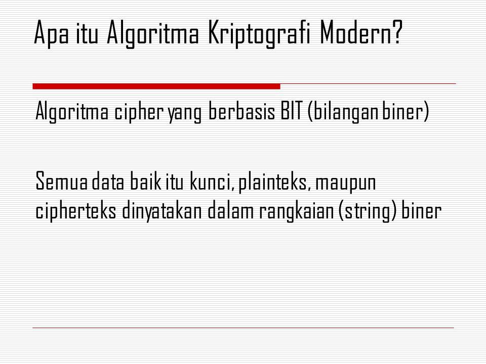 Algoritma cipher yang berbasis BIT (bilangan biner) Semua data baik itu kunci, plainteks, maupun cipherteks dinyatakan dalam rangkaian (string) biner
