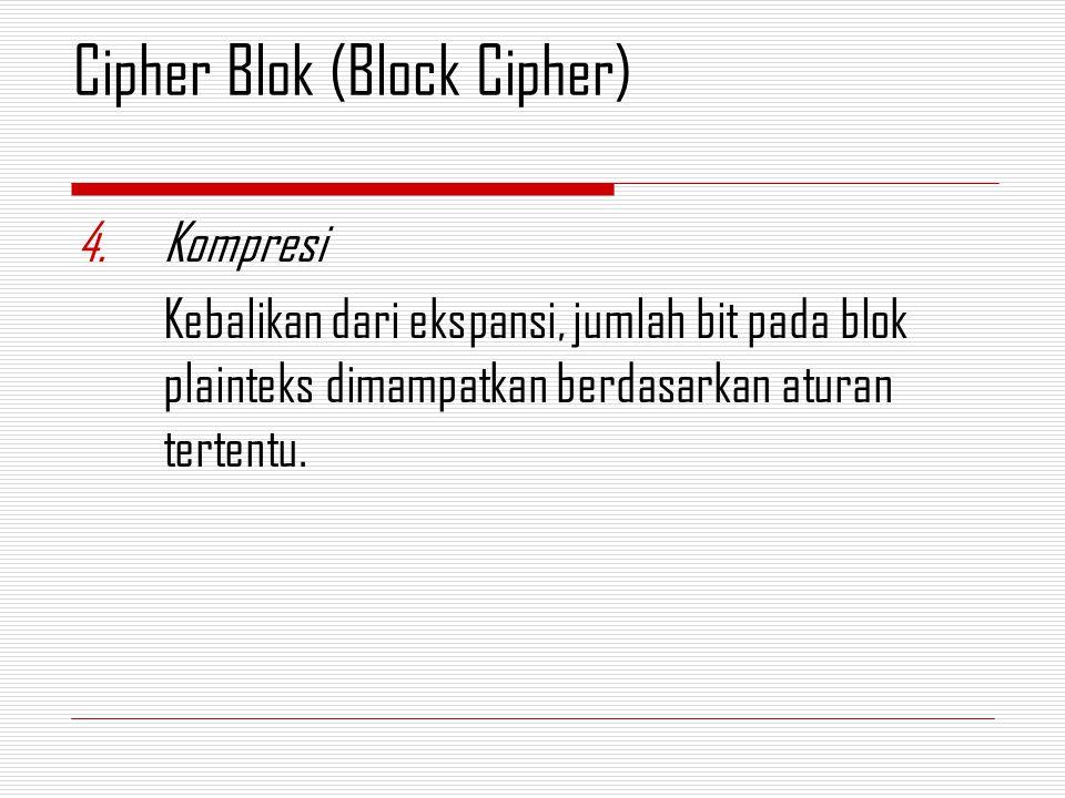 4.Kompresi Kebalikan dari ekspansi, jumlah bit pada blok plainteks dimampatkan berdasarkan aturan tertentu. Cipher Blok (Block Cipher)