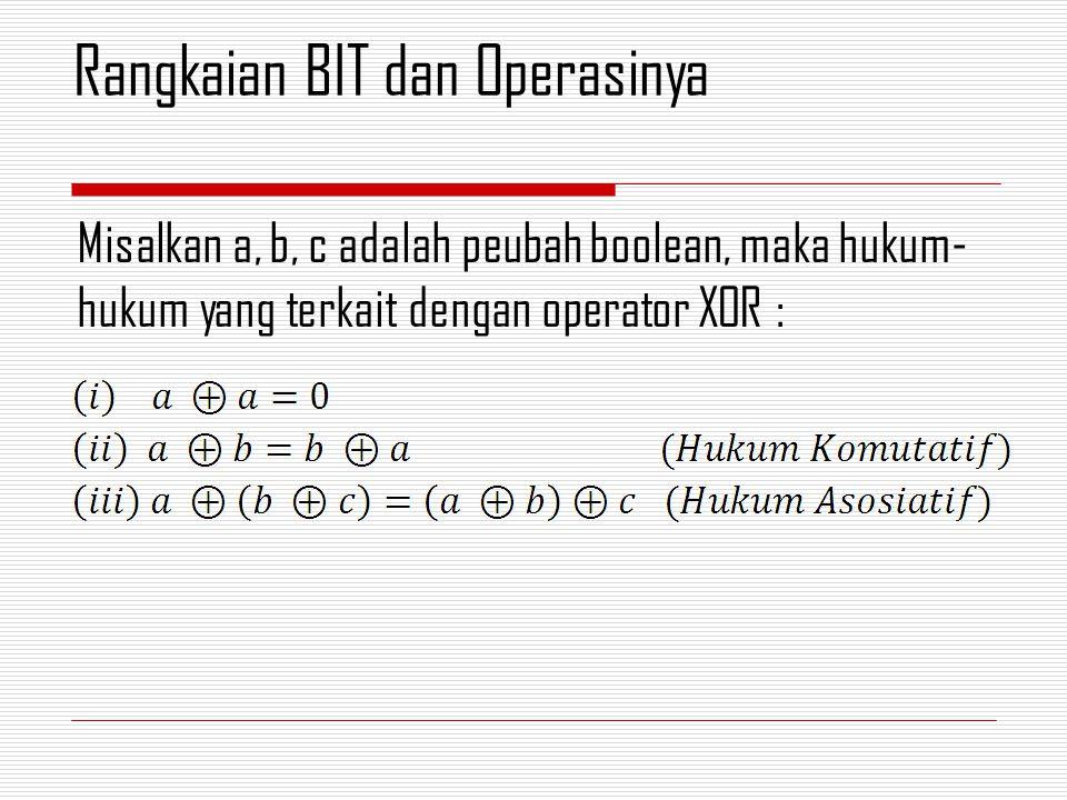 Misalkan a, b, c adalah peubah boolean, maka hukum- hukum yang terkait dengan operator XOR : Rangkaian BIT dan Operasinya