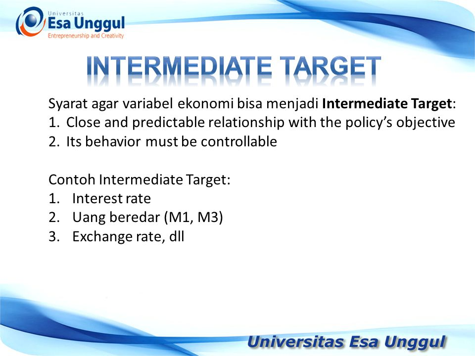is an economic variable, which the central bank wants to control, and indeed can control, to a very large extent on a day- by-day basis through the use of its monetary policy instruments The operational target thus (i) gives guidance to the implementation officers in the central bank what really to do on a day-by-day basis in the inter-meeting period, and (ii) serves to communicate the stance of monetary policy to the public.