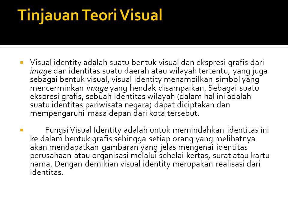  Visual identity adalah suatu bentuk visual dan ekspresi grafis dari image dan identitas suatu daerah atau wilayah tertentu, yang juga sebagai bentuk