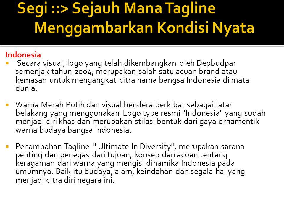 Indonesia  Secara visual, logo yang telah dikembangkan oleh Depbudpar semenjak tahun 2004, merupakan salah satu acuan brand atau kemasan untuk mengan