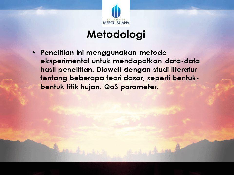 Metodologi Penelitian ini menggunakan metode eksperimental untuk mendapatkan data-data hasil penelitian.