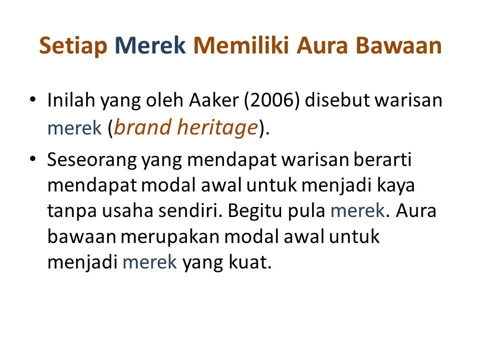 Setiap Merek Memiliki Aura Bawaan Inilah yang oleh Aaker (2006) disebut warisan merek ( brand heritage ).